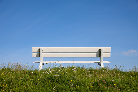 absent: Germany, Lower Saxony, empty bench on dyke