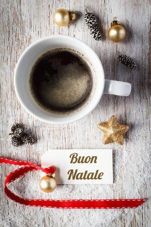 bodegones: Christmas time, festive still life, cup of coffee, italian, sign on wood Foto de archivo