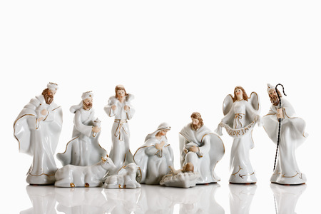Christmas decoration, nativity scene, crib figurines 스톡 콘텐츠