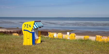 dyke: Germany, Cuxhaven, dyke and beach, hooded beach chair
