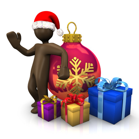 figurine: 3D Illustration, Brown figurine with christmas hat, bauble and presents