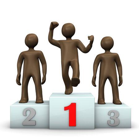 jubilation: Winners podium with brown figures