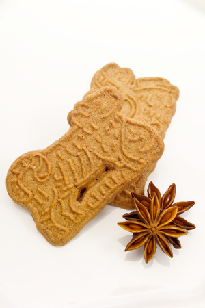 star anise christmas: Christmas biscuits, Almond biscuits, Star anise isolated on white background Stock Photo