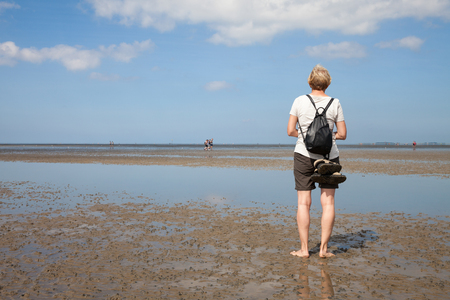 waters: Germany, Lower Saxony, Low tide, woman standing on waters edge