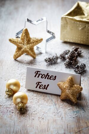 still lifes: Christmas time, Still life with german wishes, sign, on wood