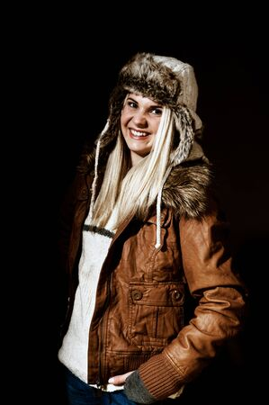 winter clothes: Young woman with fur hat, winter clothes