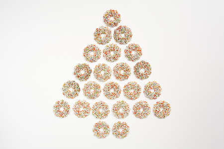 curls: Chocolate curls, shape christmas tree Stock Photo