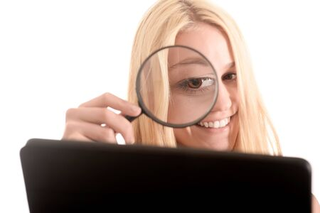 exactitude: Woman with magnifier, digital tablet, error tracking