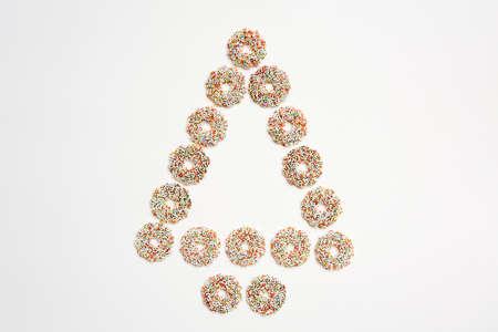 hundreds and thousands: Chocolate curls, shape christmas tree Stock Photo