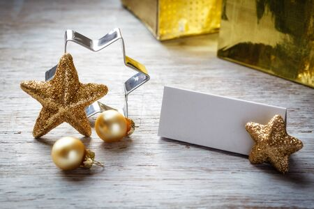 a place of life: Christmas still life on wood, place card, copy space Stock Photo