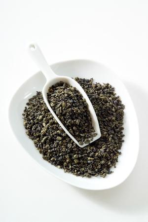 gunpowder tea: Green tea, gunpowder tea, bowl, white background