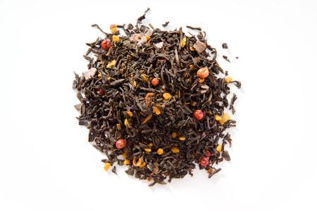 honey cake: Black tea with honey cake, cocoa, cinnamon, pink peppercorns Stock Photo