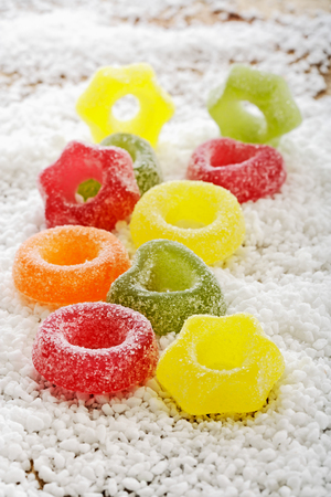 jellybean: Jelly rings on icing sugar
