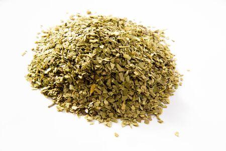 mate: Green mate tea, white background
