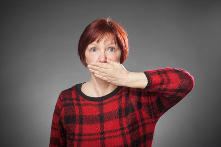 disturbing: Red-haired woman, Portrait, not speaking Stock Photo