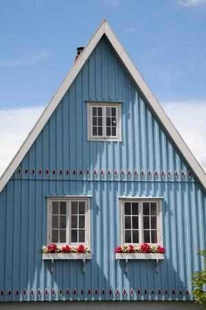 house gables: Germany, Schleswig-Holstein, House, blue facade, gable