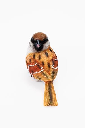 animal figurines: Sparrow figurine on white background Stock Photo