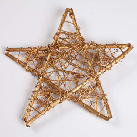 christmastime: Golden star, white background