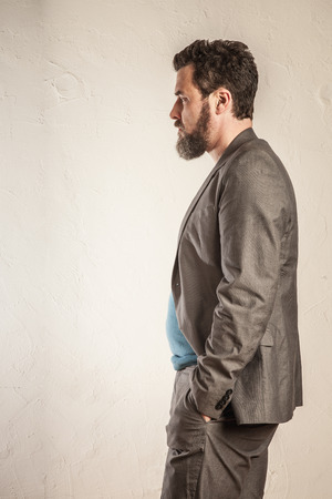 man profile: Business man with beard, profile view Stock Photo