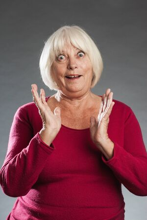 exhilaration: Ältere Frau ist freudig überrascht Stock Photo