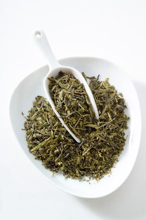 sencha: Japanese sencha tea, bowl, white background