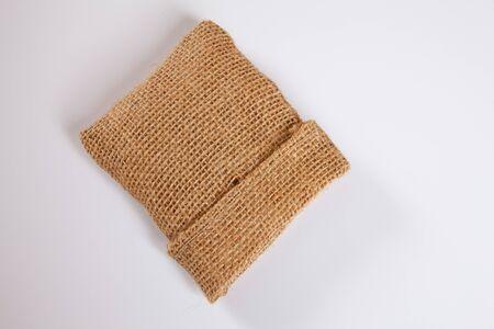 jute sack: Sacco di iuta, sfondo bianco, lo spazio della copia Archivio Fotografico