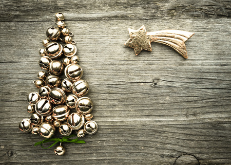 comet: Bells, christmas tree on wood, comet, star