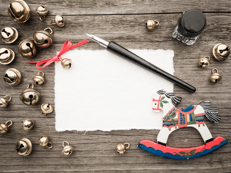 inkwell: Christmas decoration, card, inkwell, quill and bells