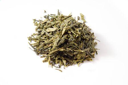 sencha tea: Japanese sencha tea, white background