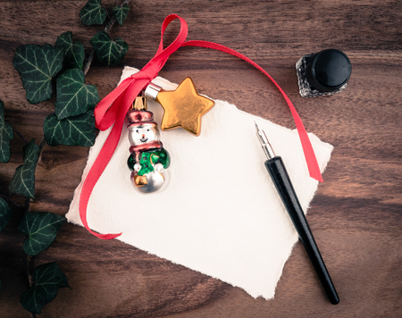 inkwell: Christmas decoration, card, inkwell and quill