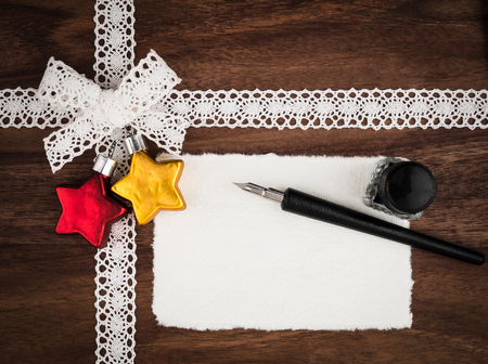 inkwell: Christmas, cace, christmas card, quill and inkwell, copy space Stock Photo
