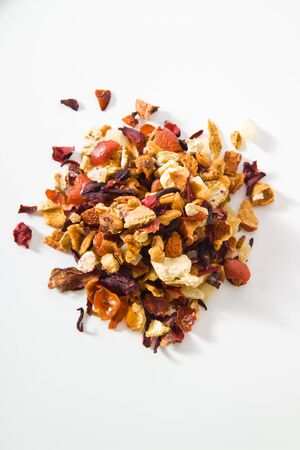 blend: Tea blend, peach apricot tea, hibiscus, apple, elder flavour Stock Photo