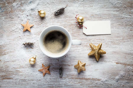 still lifes: Christmas still life, cup of coffee, tag Stock Photo