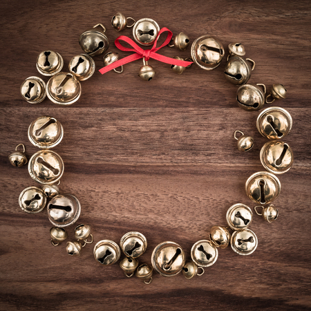 christmas time: Christmas, bells on wood, christmas decorations, wreath, copy space