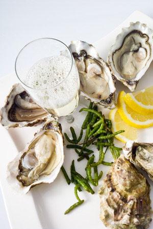 champagne glasses: Oysters, lemon, seaweed, champagne glass on plate
