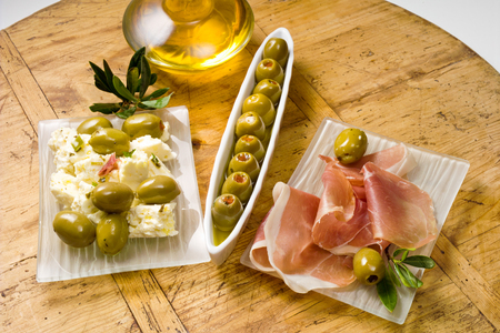 ewes: Tapas, green olives, parma ham, olive oil, sheep cheese