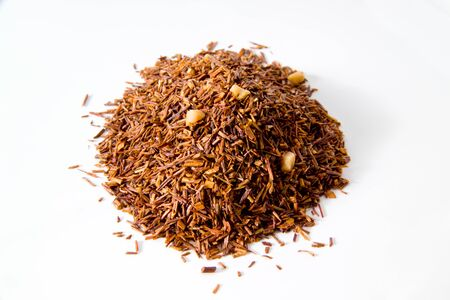 rooibos tea: Rooibos tea with marzipan and vanilla, tea blend, white background