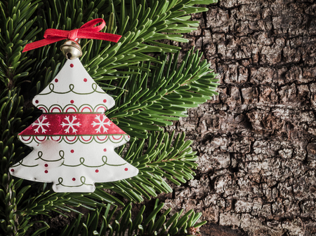 evergreens: Christmas decoration on bark, evergreens, christmas tree