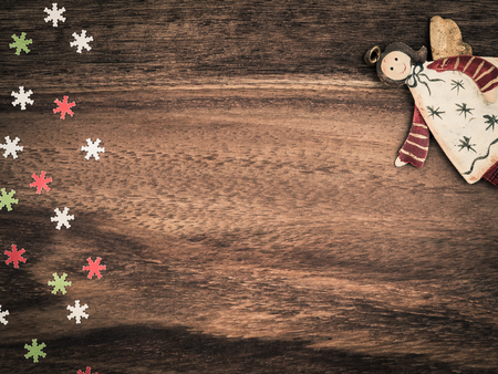christmas time: Christmas, paper snowflakes, angel, background wood, copy space Stock Photo