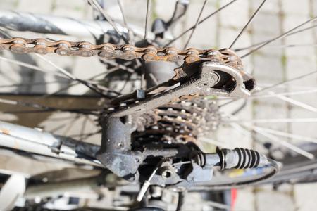 shift: Rusty old bike chain and gear shift