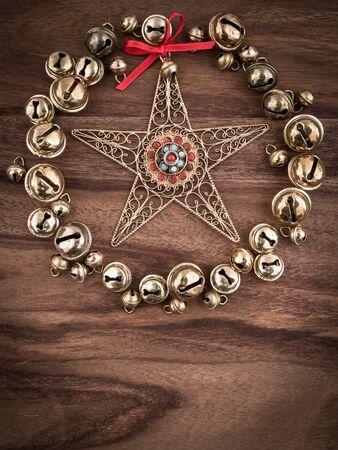 decorations wreaths: Christmas, bells on wood, christmas decoration, star Stock Photo