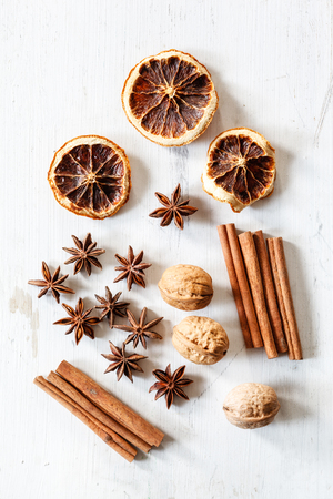 star of life: Still life with cinnamon sticks, dried oranges, star anis and walnuts