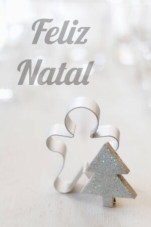 bodegones: Navidad todav�a la vida con el cortador, deseos portugu�s, Feliz Natal