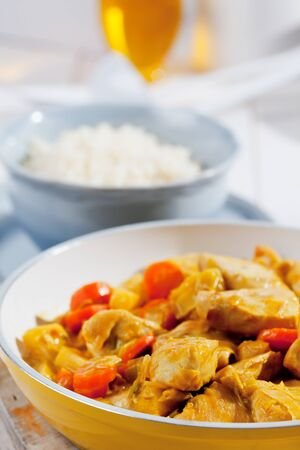 basmati rice: Chicken curry and basmati rice served close up