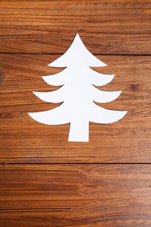 copy space: Fir tree on wood, copy space