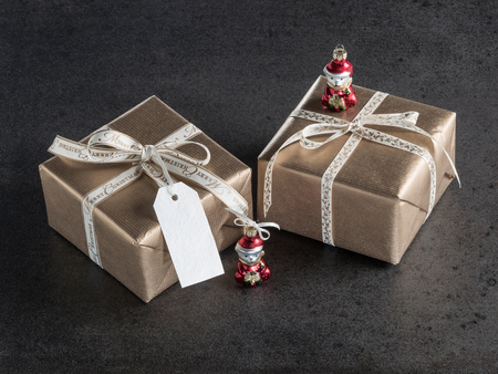 christmastime: Christmas presents, gift tag, christmas decorations