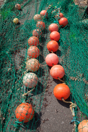 fishing net: Fishing net and buoys