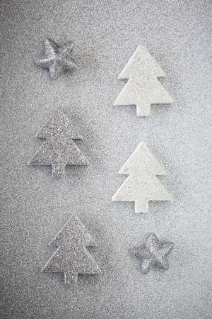 still lifes: Christmas trees on shiny underground Stock Photo