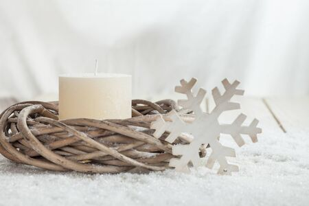 ice crystal: Christmas decoration, white candle, wreath, wooden ice crystal, copy space
