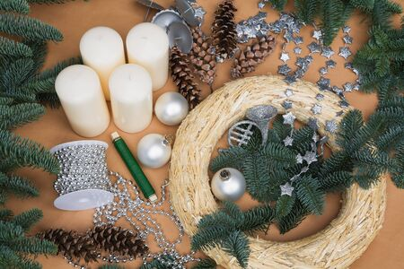 advent wreath: Decoration, Advent wreath and accessories Stock Photo